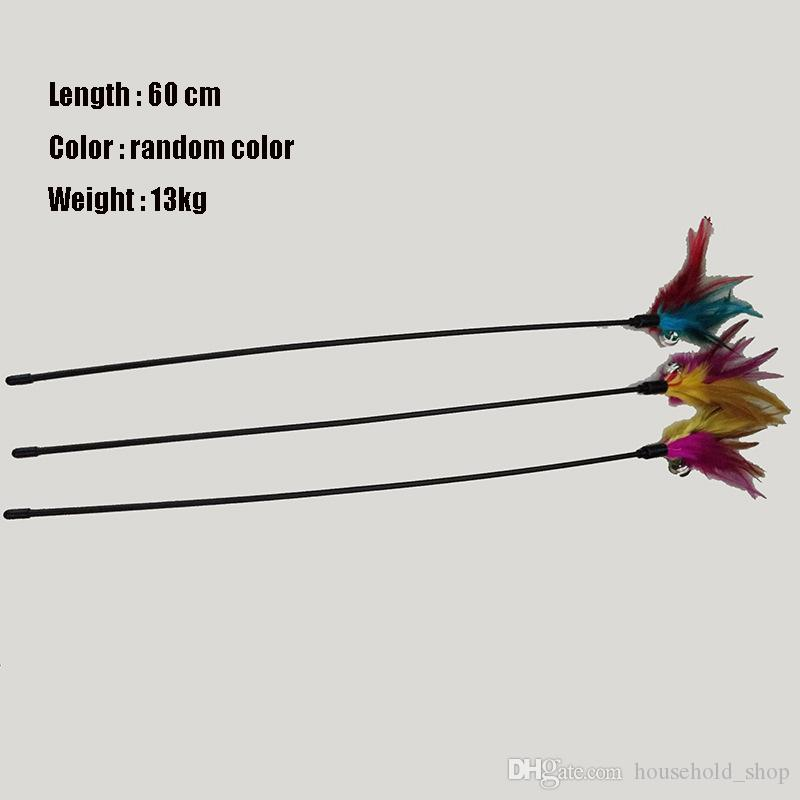 Venta caliente Cat Toys Soft Colorful Feather Bell Rod Toy para Cat Kitten Funny Playing Interactive Toy Pet Cat Supplies