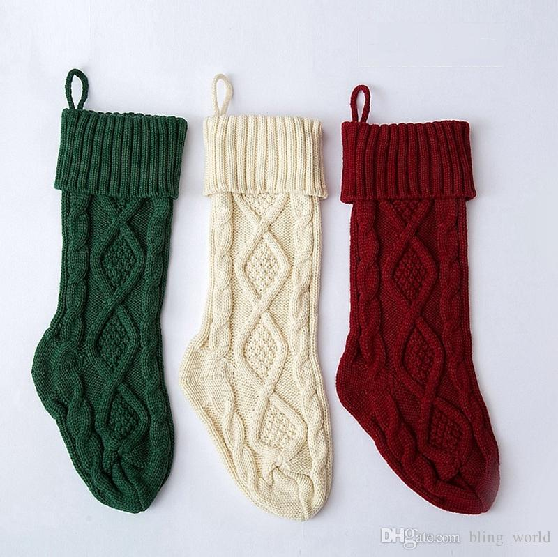 Christmas Stockings Knitted Santa Candy Gift Bag Diamond Christmas ...