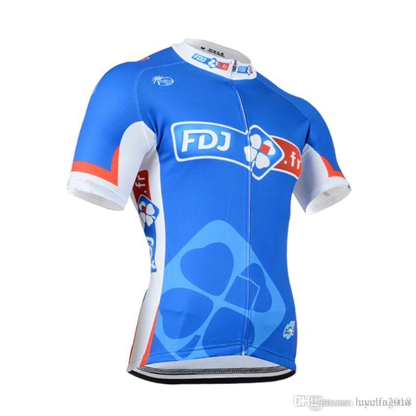 3b6ce2cac 2017 FDJ Tour De France Cycling Jersey Pro Team Mens Short Sleeve ...