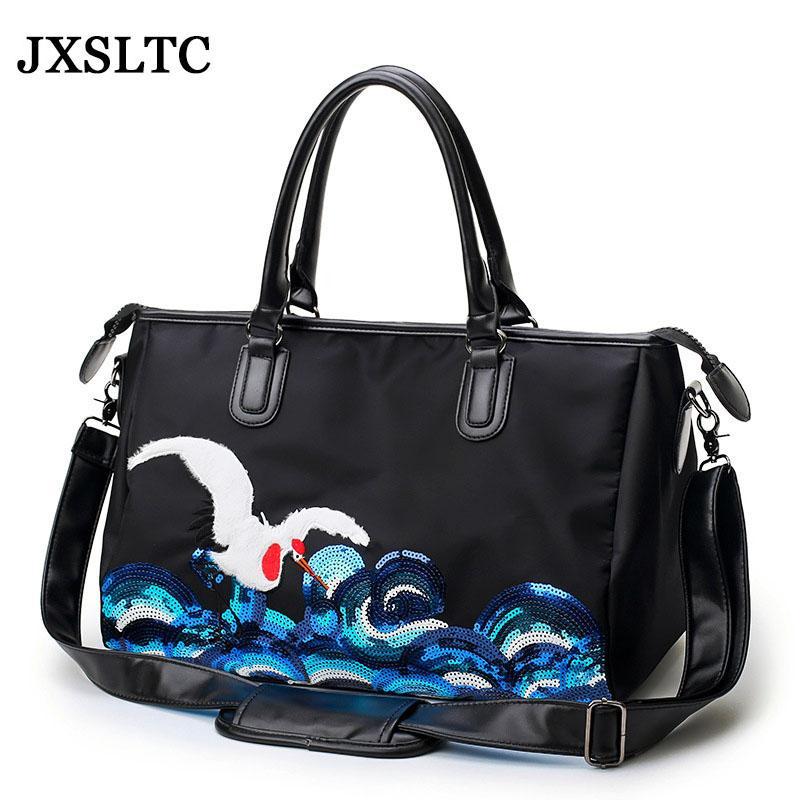 4f4d6cdad4bd2 Satın Al Deniz Vinç Pullu Nakış Bagaj Seyahat Çantası Moda Erkek Kadın Çanta  Büyük Kapasiteli Tasarımcı Omuz Messenger Bagaj Çantaları, $39.55 | DHgate.
