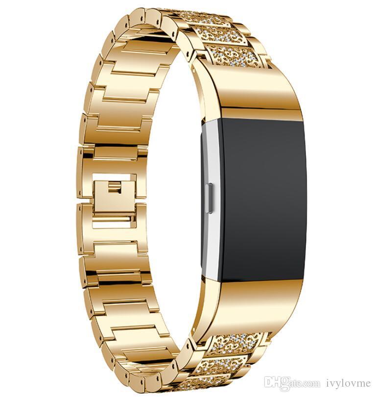 Correa de reloj para fitbit charge2 Acero inoxidable Cristal Rhinestone Diamante Banda de reloj Pulsera de lujo Correa Reloj Accesorios Bandas