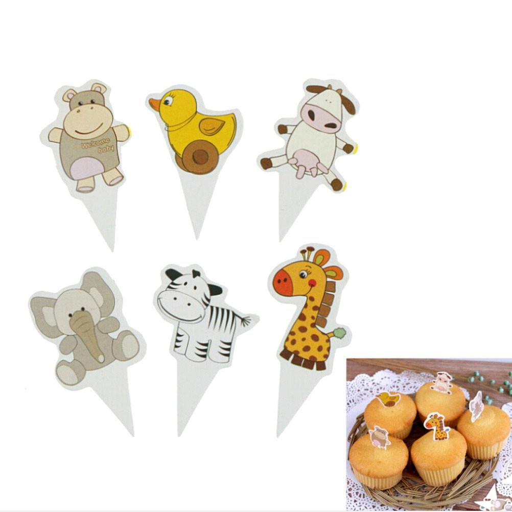100Pcs/lot Cartoon Farm Animal Theme Cupcake Toppers Party Supplies Pick Kid Birthday Party Decorations supplies Wholesale
