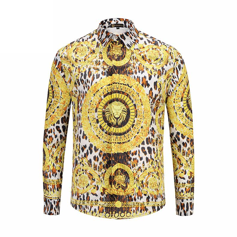 8fdda736d 2019 2018 New Arrival Men Shirts Long Sleeve 3d Print Gold Lion On Front  Covered Button Slim Fit Casual Shirts M To XXL High Quality From Tutucloth,  ...