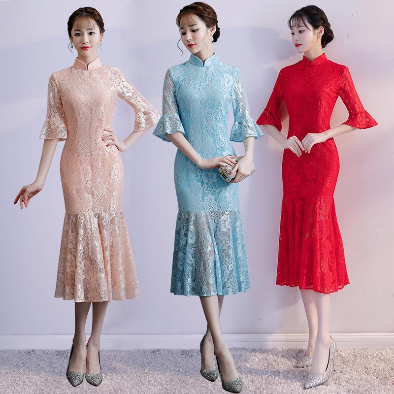 Acquista Abito Lungo Cheongsam Lungo In Pizzo Elegante Donna Sottile Vestito  Tradizionale Cinese Signora i Partito Di Sera Orientale Qipao 90 A  71.69  Dal ... aafb37f7032