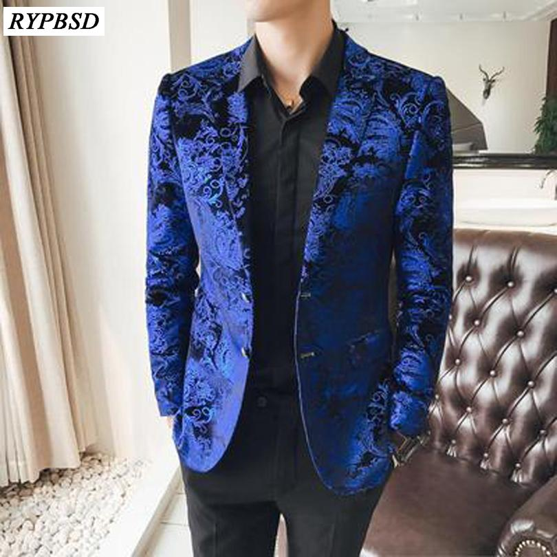442d9526fd 2 Button Blazer di velluto blu Uomo Luxury Paisley Flower Pattern Fancy  Blazer Uomo 2018 Terno Masculino Plus Size 5xl Suit