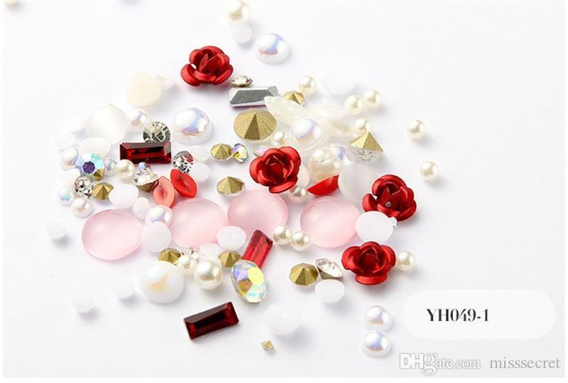 12 cores Flower Rose 3D Nail Art Decoração Glitter Diamante Pérola prego Fontes da arte do prego Maquiagem DIY