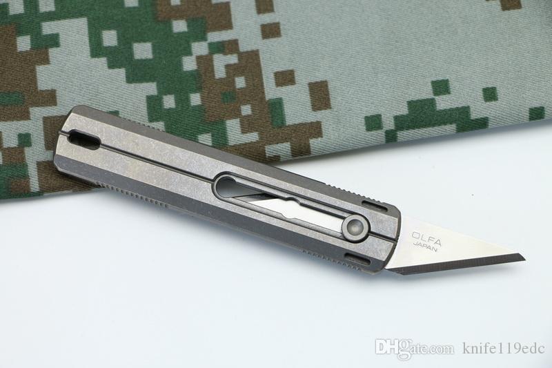 DICORIA District 9 Original Coupe-papier Couteau Cuttin Poignée Titane Lame en acier inoxydable Olfa Taille des couteaux de camping en plein air