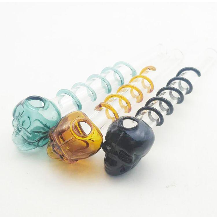 Sigara topu çapı Için cam el boru 0.98 inç Kafatası Cam Yağı Brülör boruları mini spiral Su Bongs Bubblers