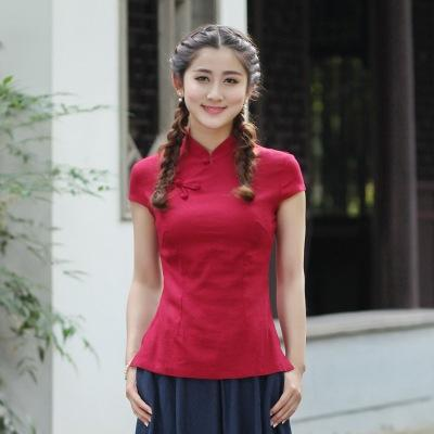 f4c13fd043 2019 Hot Sale Red Traditional Chinese Blouse Womens Cotton Linen Shirt Tops  Short Sleeves Tang Clothing Size S M L XL XXL XXXL 2518 6 From Liulongan1