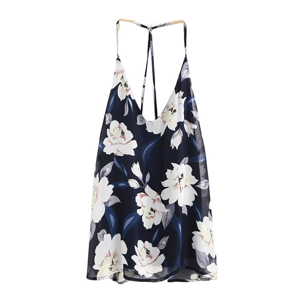 a23e32ee8 2019 Good Quality Womens Chiffon Tops Sexy Sleeveless V Neck Floral Printed Halter  Tank Tops Vest Blouse Shirt Summer Cami #VE From Liasheng10, ...