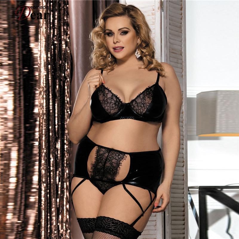 a59daaa033514 Comeondear New Porn Eyelash Lace Garter Set Black Sexi Woman Lingerie Plus  Size Lenceria Sexy RA80315 Hot Women Underwear D18110801 Lady Pajamas Sets  ...