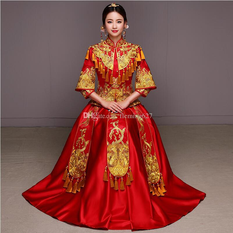 2018 Red Bride Wedding Dress Traditional Ancient Qipao Female ...
