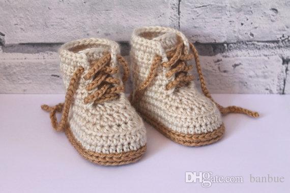 2019 Crochet Baby Booties Baby Boys Booty Combat Boots Beige