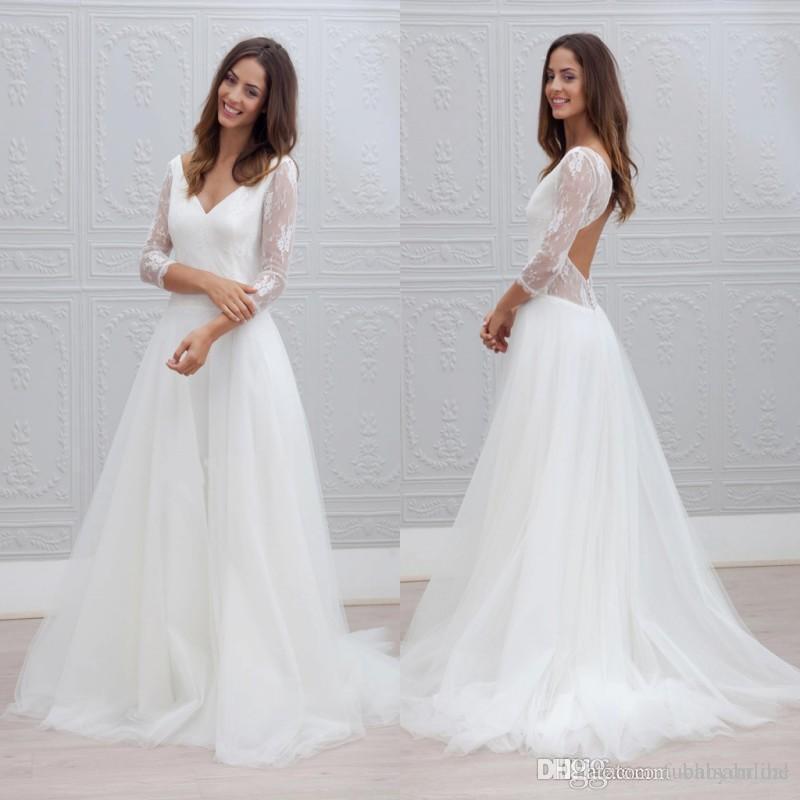 Discount Romantic Summer Beach Simple White Wedding Dresses A Line