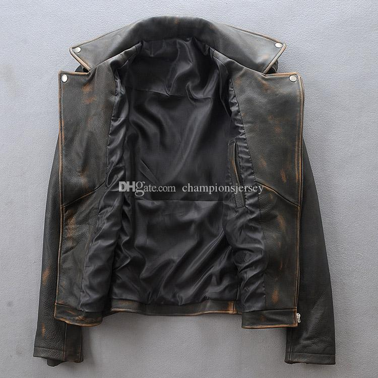 Vintage Men's Leather Jacket suit collar oblique zipper short Slim motorcycle clothing First layer of cowhide leather