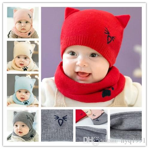 3c1e3450389 2019 2018 Autumn New Baby 0 12 Month Baby Hat The Infant Child Hat Baby  Cartoon Cotton Cap Scarf Set 5238 From Hyq1991