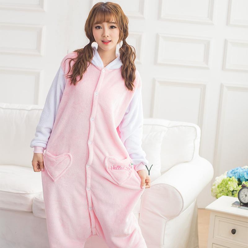 Flannel Winter Warm Pyjamas Cartoon Couple Animal Pink Hello Kitty Plus Thick Velvet Pajamas Siamese Pajamas Men Women Sleepwear