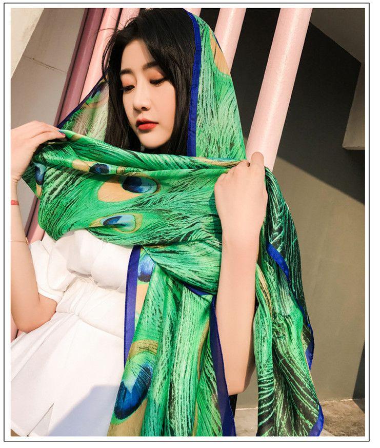 37f864075 Fashion Summer Scarves Women Silk Peacock Feather Print Autumn Winter Scarf  Vacation Bohemian Beach Shawl Sunscreen Boho Long Wraps Towel Scarf Ring  Hijab ...