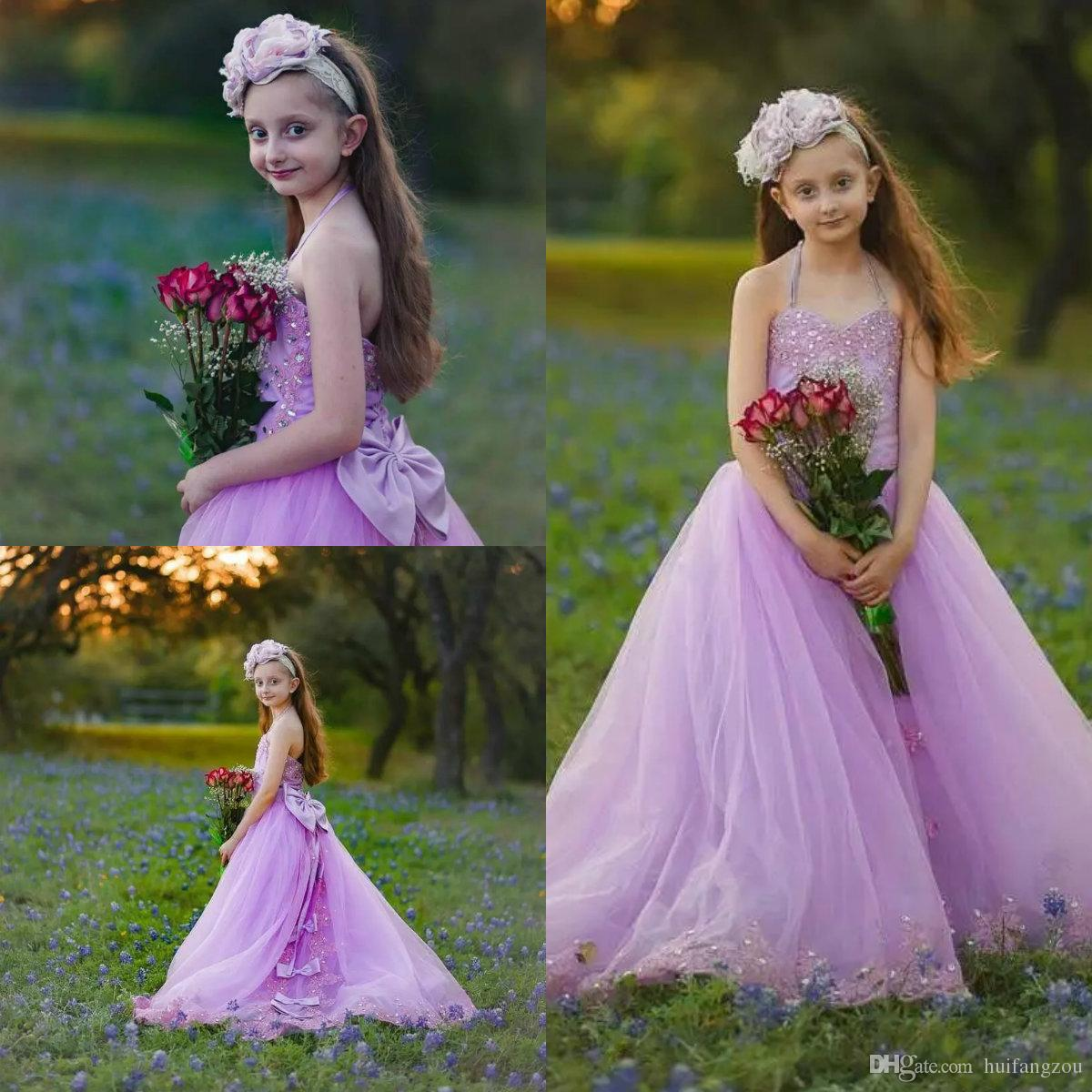 b2c7be2c2 Light Purple Halter Flower Girl Dresses With Lace Crystals Beaded Tulle  Sweep Train Girls Pageant Dress Kids Birthday Communion Gowns Flowers Girl  Dress ...