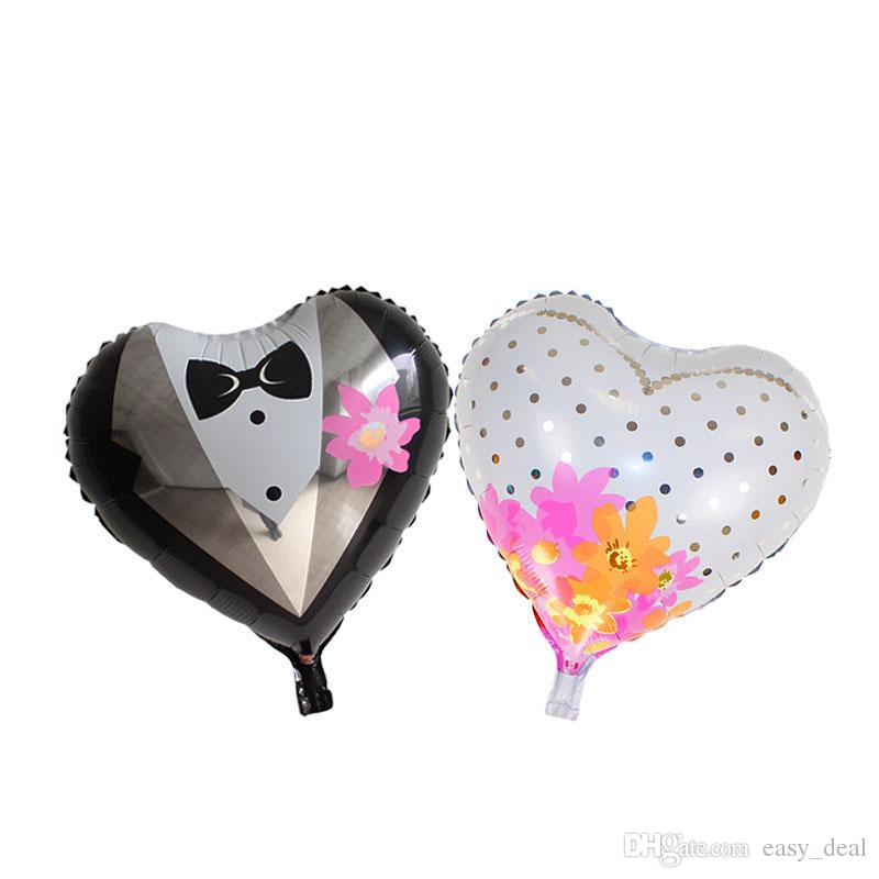 en forme de coeur des mariés en aluminium feuille ballon ballon fête d'anniversaire robe de mariée ballon en gros livraison gratuite ZA6011