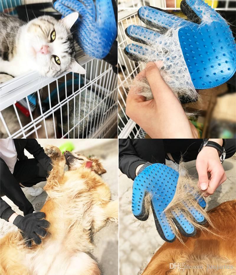 500 pz a buon mercato Pet Dog Cat Bath Grooming Guanto Spazzola Cani Pulizia Massaggio Pettine Capelli E Pelliccia Remover Guanto Cinque Dita Blu
