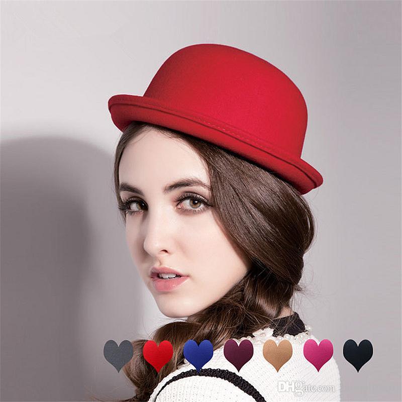 ab0fce4b668 Women Fedoras Hat Felt Winter Derby Bowler Lovely Nice Cap Cheap ...