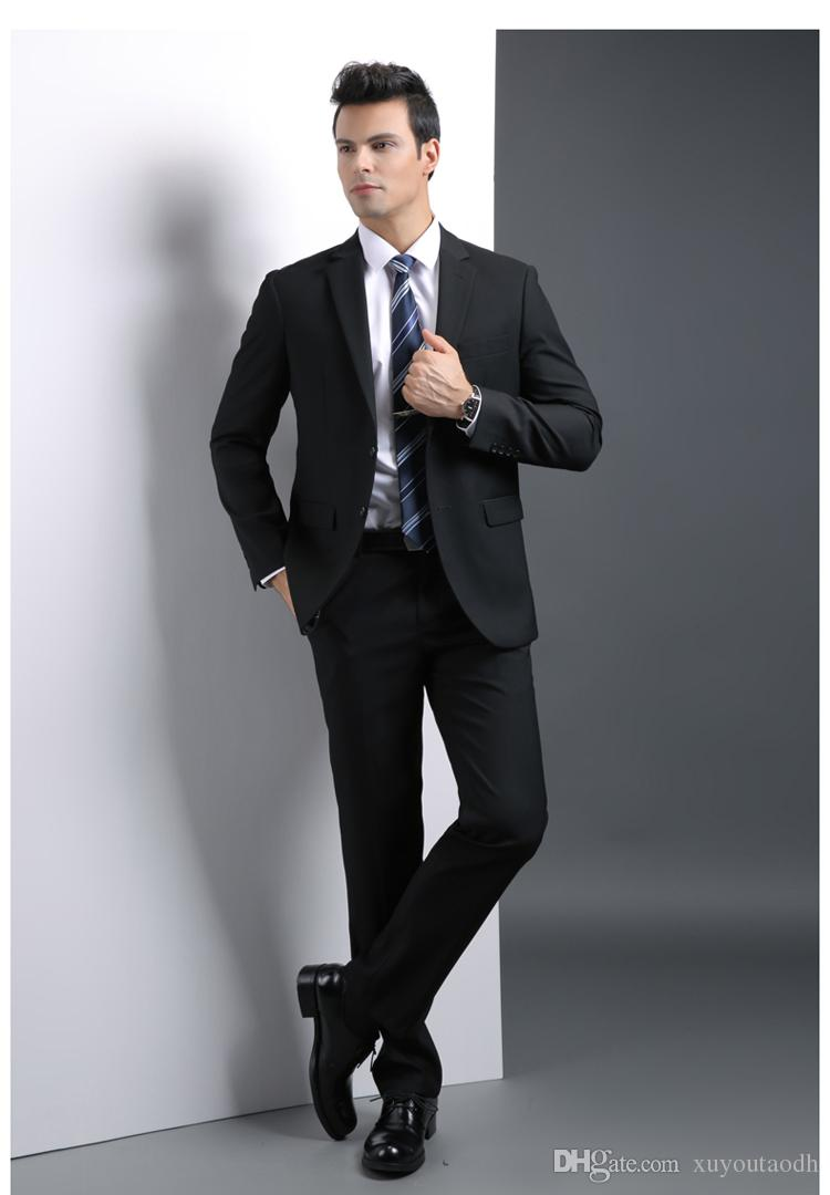 Black Men Suits Formal Blazer Custom Made Business Suits Tailored Tuxedo Slim Fit Wedding Suits Terno Masculino Jacket+Pants