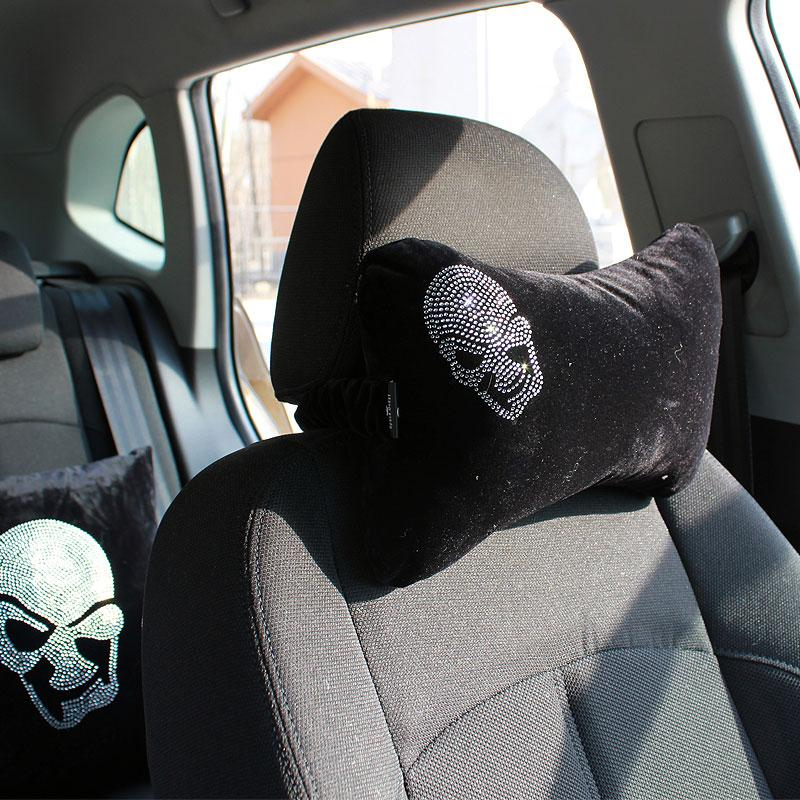 Skull Diamonds Plush Auto Car Seat Neck Pillow And Bolster Protection Safety Headrest Support Rest Cushion Accessories Heat Cover