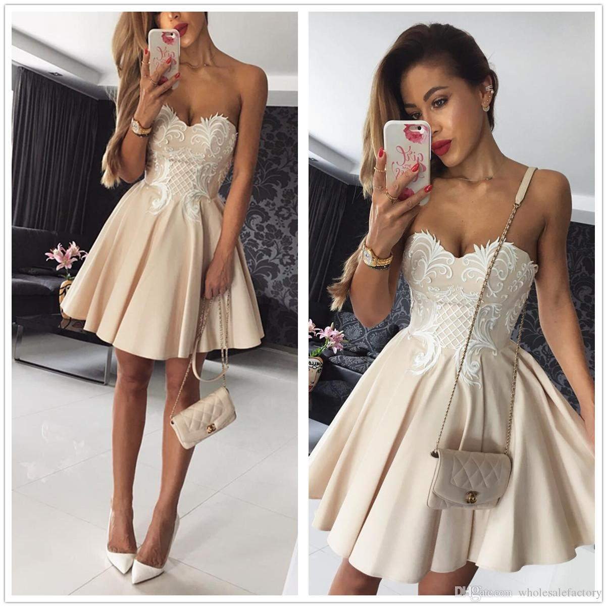 2018 New Sweety Strapless Satin A Line Cocktail Dresses Lace ...