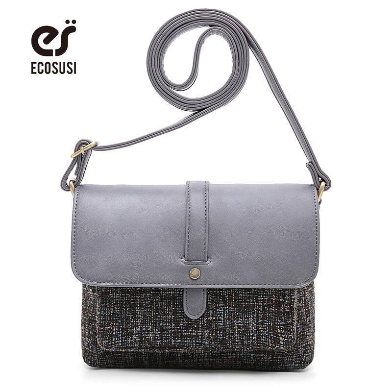 020fcad9a3 ECOSUSI New Women PU Leather Messenger Bag High Quality Retro Women Handbag  Famous Designer Leather   Canvas Shoulder Bag Leather Handbag Red Handbags  From ...