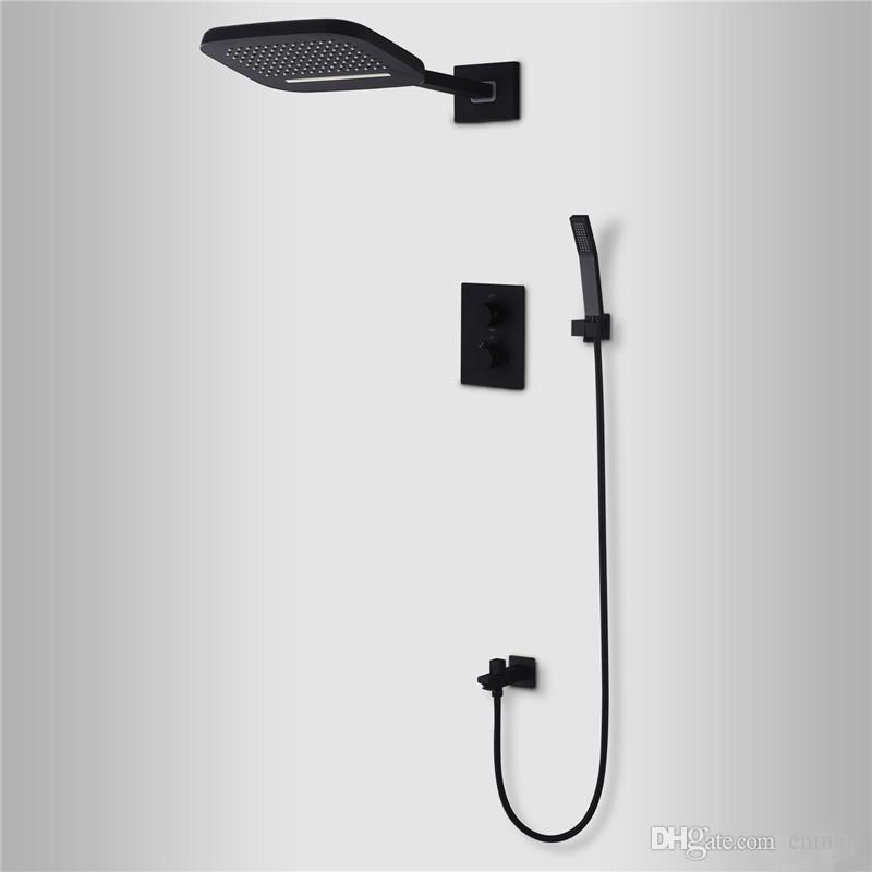 Black Shower Thermostatic Waterfall Rain Shower Head U0026 Hand Shower Set In  Solid Brass Bathroom Faucet Wall Mounted System Thermostatic Waterfall Rain  Shower ...
