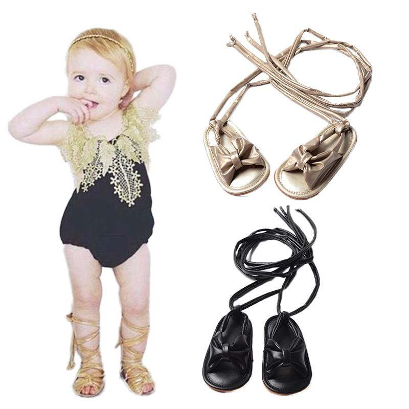 cd1cebe48e2f5 New Arrival Baby Girls Chic Sandals Lace up Infant Toddler Roman Sandals  With Bowknot Tie String Flats Nonslip Shoes