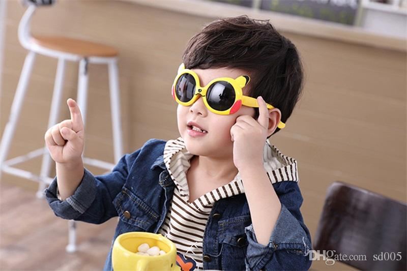 UV400 Soft Resin Frame Kids Eyeglasses Boys And Girls Fashion Round Lens Sun Glasses Cute Cartoon Children Polarizing Sunglasses New 11sb Z