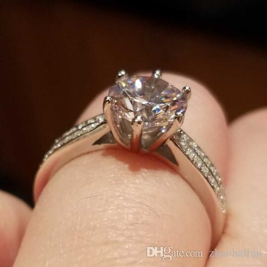 ZHF Bijoux 925 Sterling Argent Anneaux De Mariage Pour Les Femmes Avec S925 Timbre 2 Ct CZ Diamant Bagues De Fiançailles Femmes Bijoux