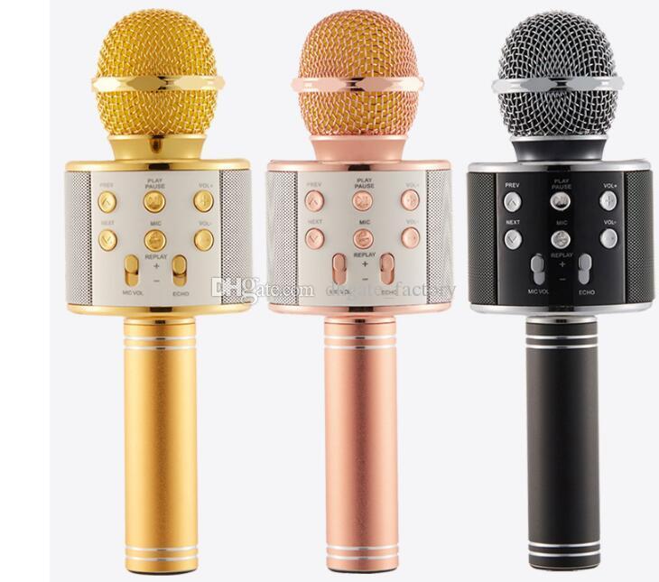 WS858 Bluetooth для беспроводной Микрофон HIFI Magic Karaoke Player MIC Динамик Запись Музыки Для Iphone Android Сотовый Телефон Таблетки ПК Свободный Корабль