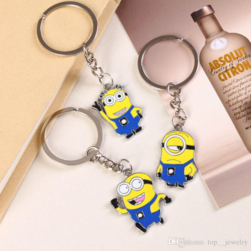 Movie Cartoon Despicable Me Key Chain Ring Holder Cute Small Minions Figure Keychain Keyring Pendant gift free shipping