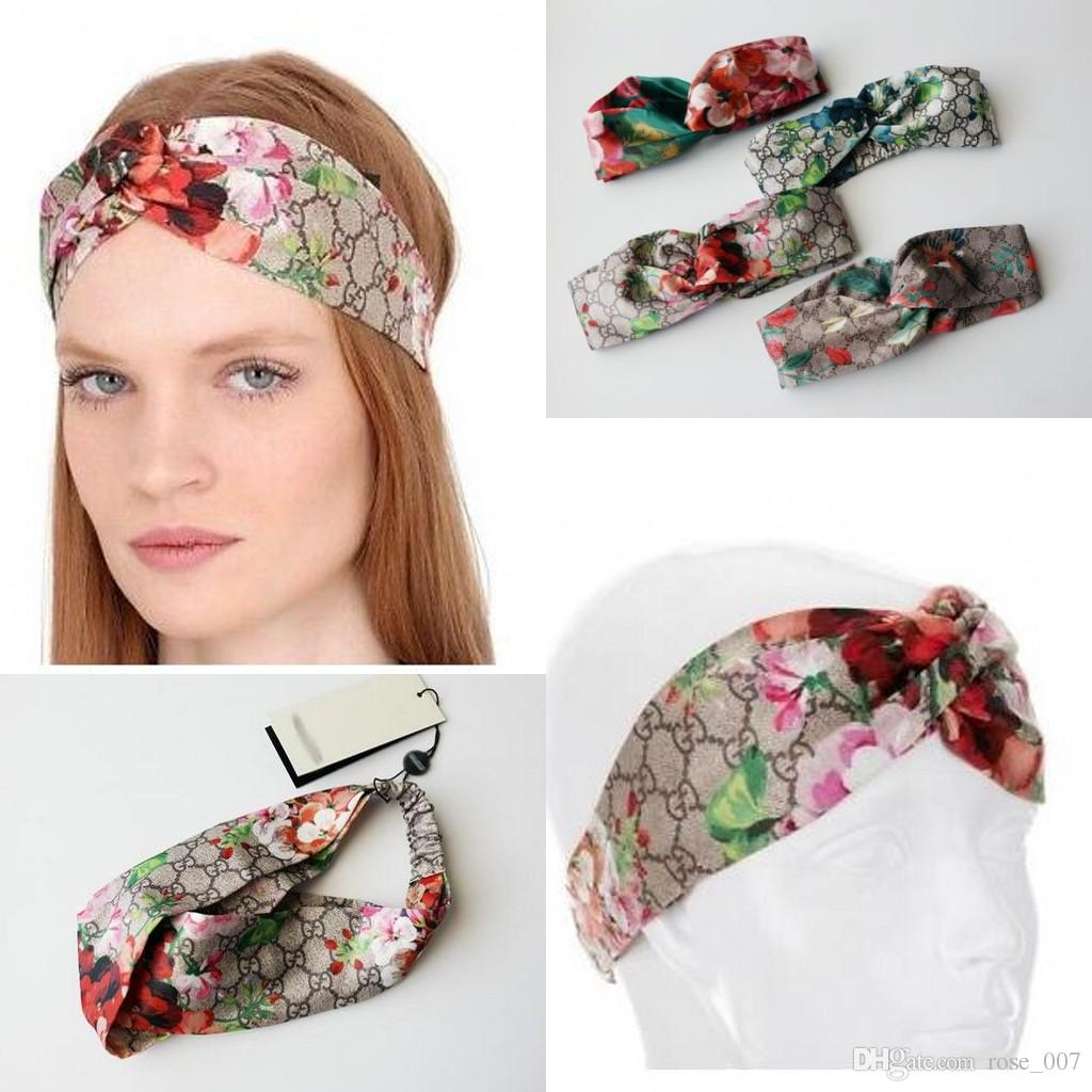 Designer 100% Silk Cross infinity Headband Fashion Luxury Brand Elastic Hair bands For Women Girl Retro Floral Bird Turban Headwraps Gifts