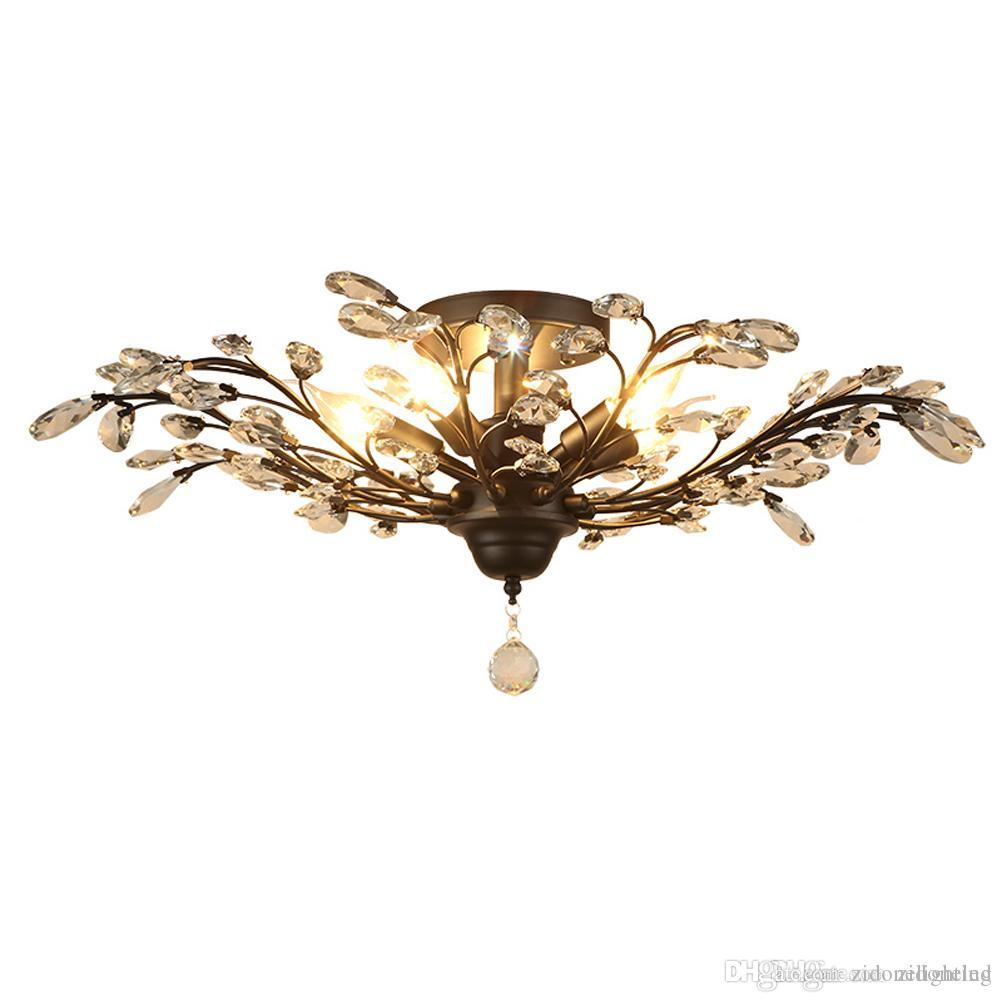 5 heads iron crystal chandelier light fixtures american village crystal ceiling lights indoor chandeliers lamp black bronze canada 2019 from zidonelighting