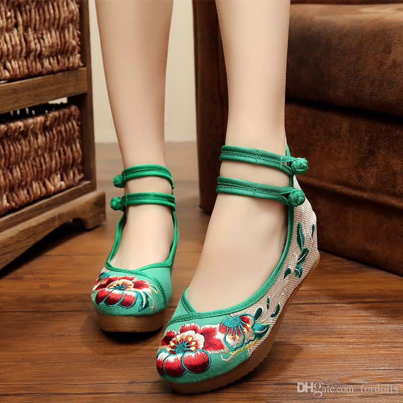 7a403b37443 Cloth Wedges Shoes Hibiscus Flowers 5cm Heels Casual Shoes Ankle ...