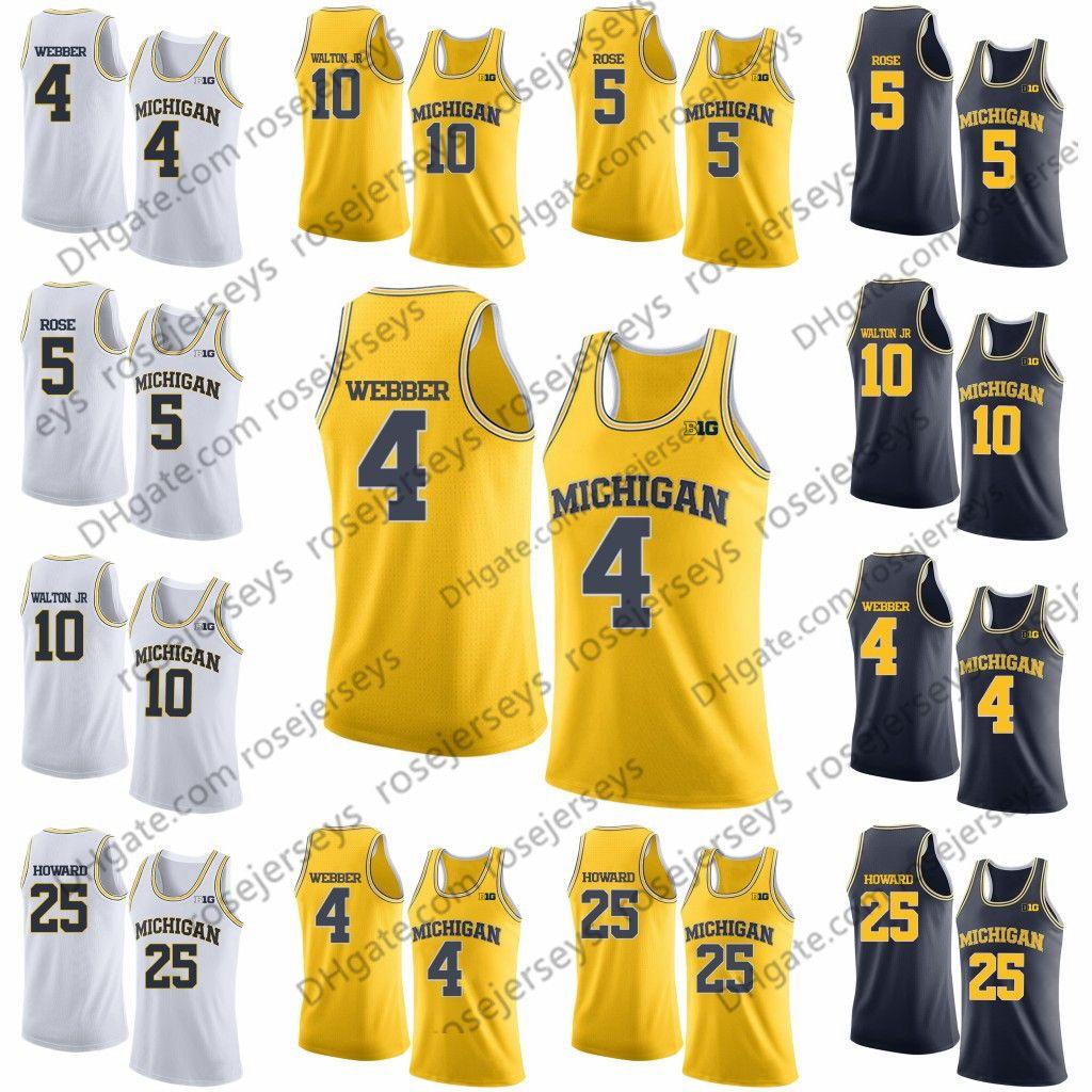 best service 99e24 52ee2 NCAA Michigan Wolverines #4 Webber 5 Rose Chris Jalen Tim 10 Hardaway Jr.  Derrick Walton 25 Juwan Howard white navy yellow Basketball Jersey