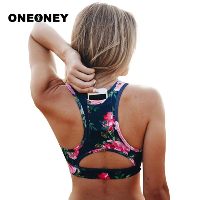 de3c1c5a84a2a 2019 Woman S Sports Bra Flower Pocket Fitness Underwear Vest For Female  Yoga Short Tops Sport For Ladies Push Up Sports Bra With Pad From  Vanilla12