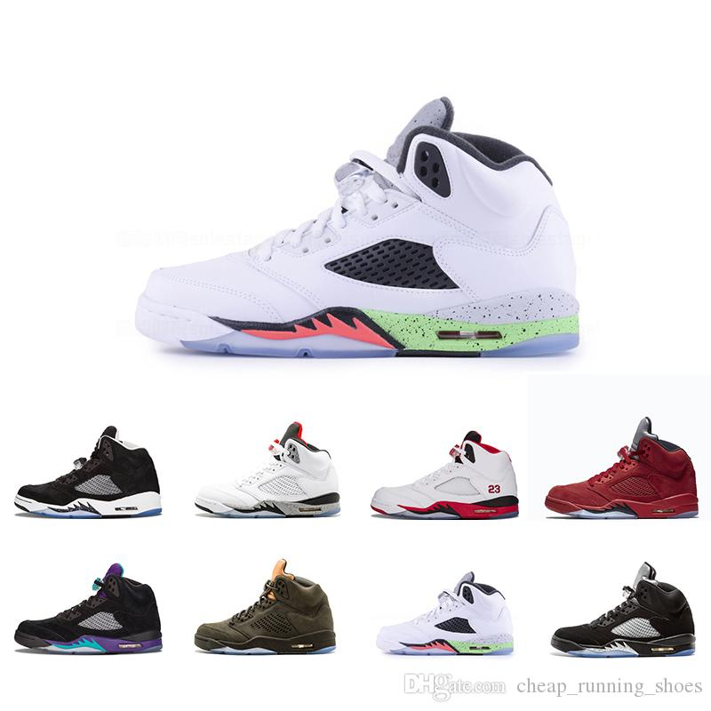 ac3dd2f78d98e7 2018 5 White Cement 5s Red Suede Ice Blue Suede Men Basketball Shoes ...