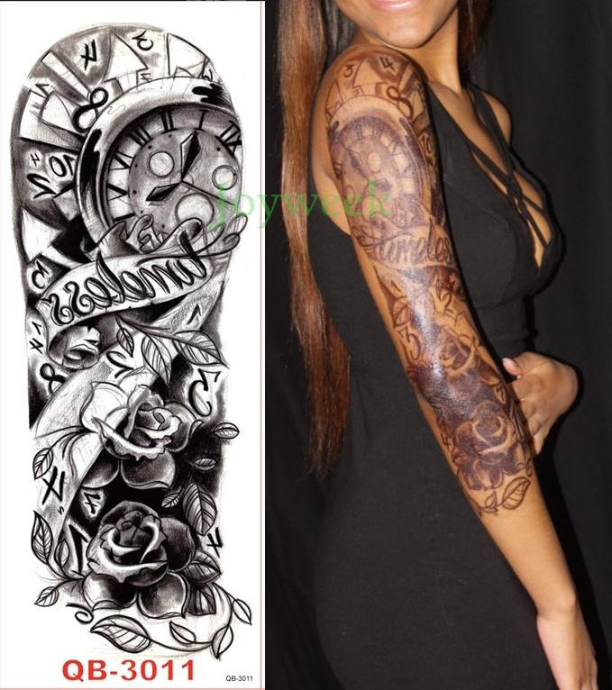 Водонепроницаемый временный стикер татуировки полная рука большой размер старой школы тату рукав флэш-тату поддельные татуировки для мужчин женщин девушка