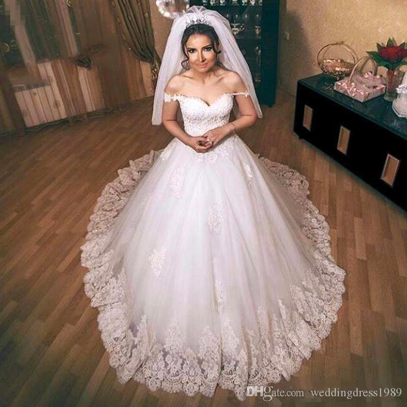 Elegante Off Hombro Vestidos de novia Boda Saudita Arabia Blanco Tallas grandes Bola 2018 Vestido personalizado De Novia Vestido nupcial Formal Arabe