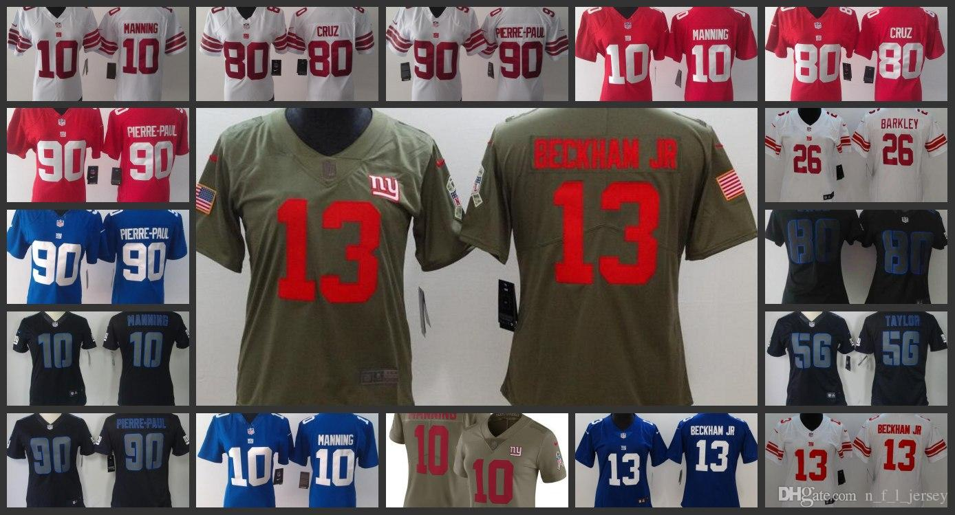 1039c9406 New York Giants Embroidery Woman Jersey  10 Eli Manning 13 Odell Beckham 26  Saquon Barkley Football Jerseys Online with  27.22 Piece on  Top nfl wholesale s ...