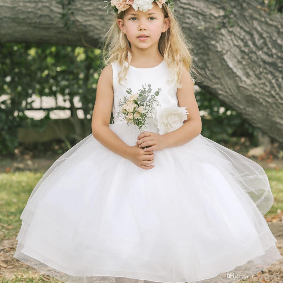 9a9f81b46 Simple White Organza Flower Girl Dresses Ankle Length Cute Cheap ...