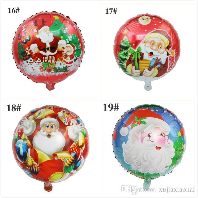 18 인치 라운드 크리스마스 풍선 풍선 축제 장식 알루미늄 호 일 풍선 산타 클로스 눈사람 디자인