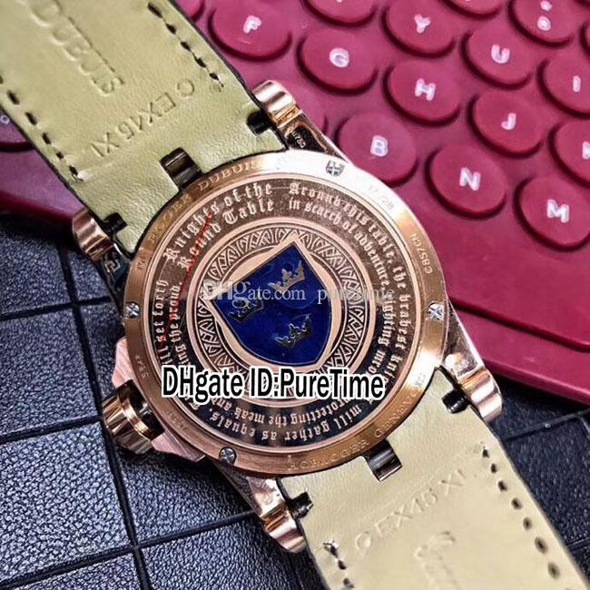 Nuevo Excalibur 45 RDDBEX0511 Oro rosa 18 quilates de oro amarillo Caballeros de la mesa redonda Esmalte negro Reloj automático para hombre Negro cuero B42g7