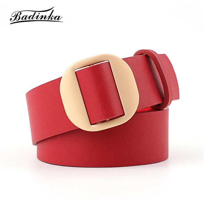 Compre 2018 Nuevo Lujo De Oro Redondo Del Círculo De La Hebilla Del  Cinturón De La Cintura De Las Señoras Ancho Negro De Imitación De Cuero  Cinturones Para ... bfd7d91bc56c