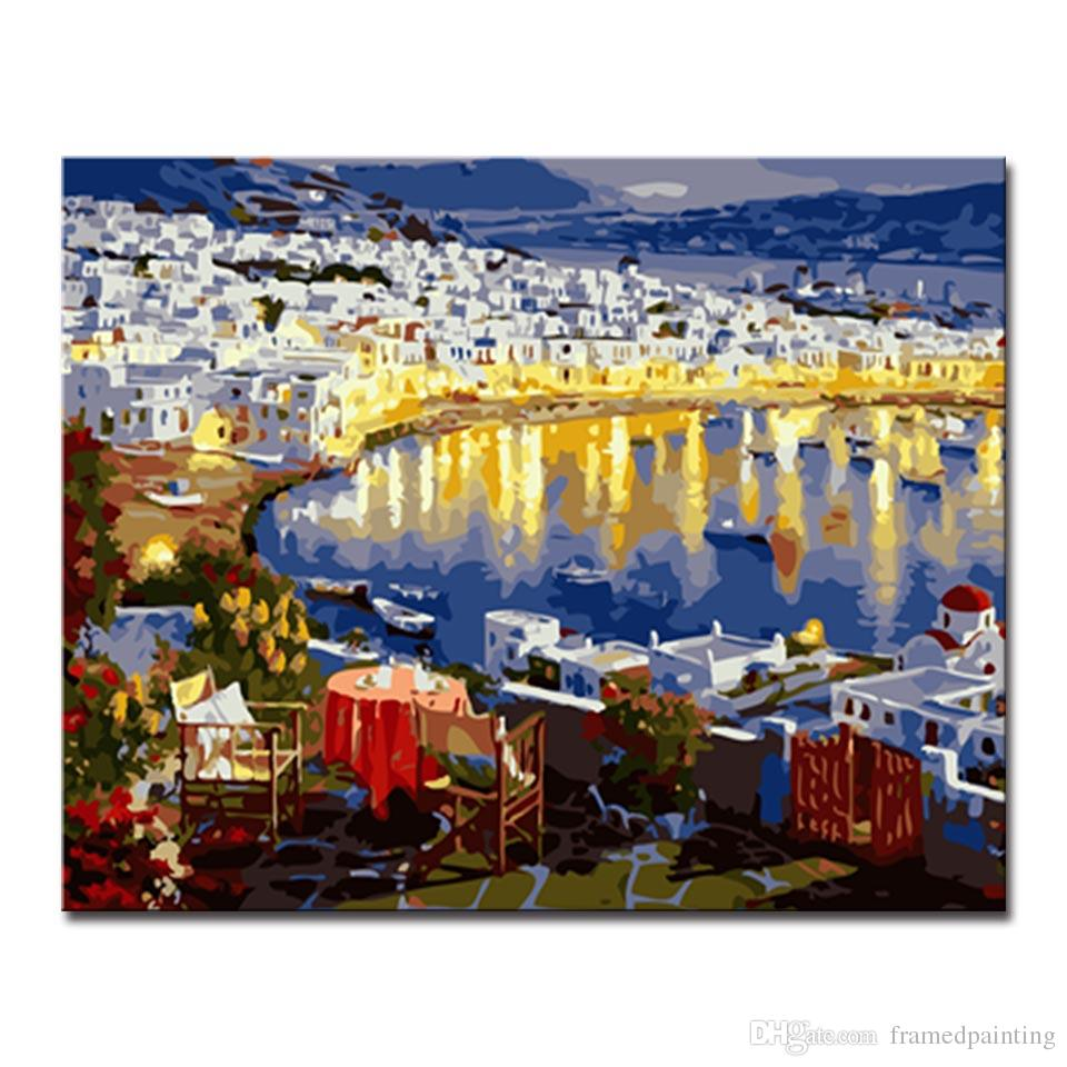 DIY Oil Painting By Numbers Kits Coloring Hand Painted European Seaside City Building Night Pictures On Canvas Home Decor